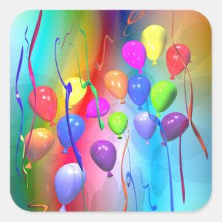 Globos brillantes del cumpleaños calcomania cuadrada personalizada