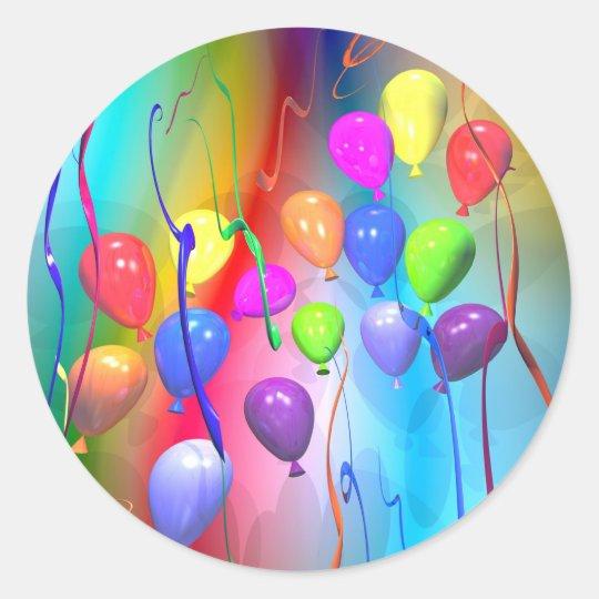 Globos brillantes del cumpleaños pegatina redonda