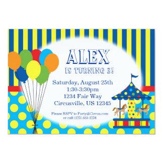 Globos, carrusel, fiesta de cumpleaños del circo invitacion personalizada