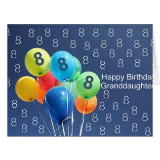 Globos coloreados 8vo cumpleaños de la nieta tarjeta de felicitación grande