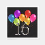 Globos coloridos 16 del cumpleaños servilletas de papel