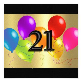 """Globos coloridos 21 del cumpleaños invitación 5.25"""" x 5.25"""""""