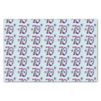 Globos coloridos del 70.o cumpleaños feliz papel de seda pequeño