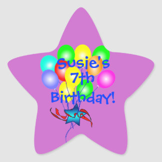 Globos coloridos del cumpleaños calcomanía forma de estrella personalizadas