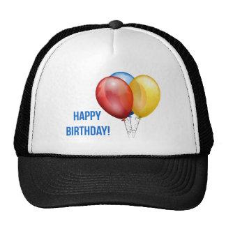 Globos coloridos del feliz cumpleaños gorros