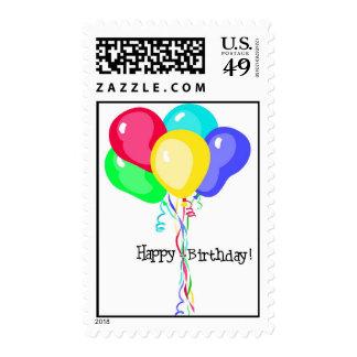 Globos con el texto del feliz cumpleaños franqueo