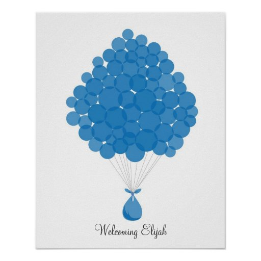 Globos de la firma del bebé - azul poster