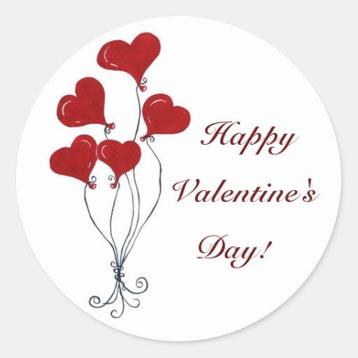 Globos de la tarjeta del día de San Valentín - Pegatinas Redondas