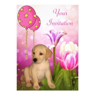 Globos de los flores y acontecimiento del perrito  invitacion personalizada