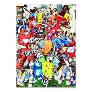 Globos del carnaval invitación 12,7 x 17,8 cm