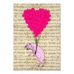 Globos del cerdo y del corazón invitación 8,9 x 12,7 cm