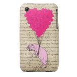 Globos del cerdo y del corazón iPhone 3 cárcasas