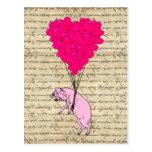 Globos del cerdo y del corazón postal