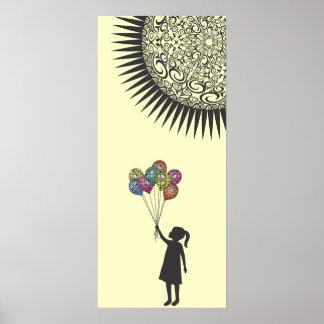 Globos del chica de sueño de StellaRoot bajo Sun Poster