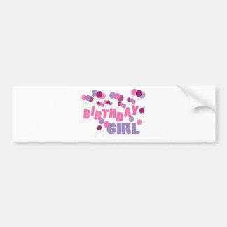 Globos del chica del cumpleaños etiqueta de parachoque