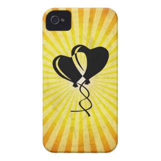 Globos del corazón; amarillo iPhone 4 cárcasa