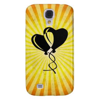 Globos del corazón; amarillo funda para galaxy s4