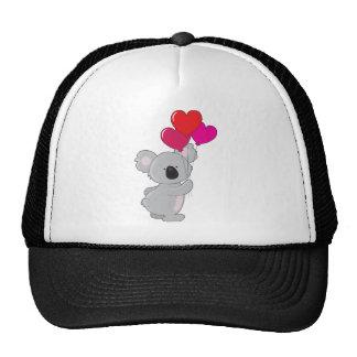 Globos del corazón de la koala gorras de camionero