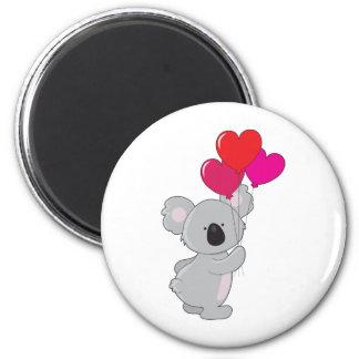 Globos del corazón de la koala imán redondo 5 cm