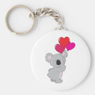 Globos del corazón de la koala llavero redondo tipo pin