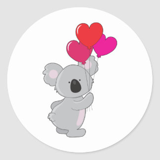 Globos del corazón de la koala pegatina redonda