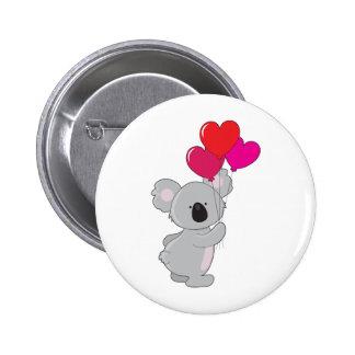 Globos del corazón de la koala pin redondo de 2 pulgadas