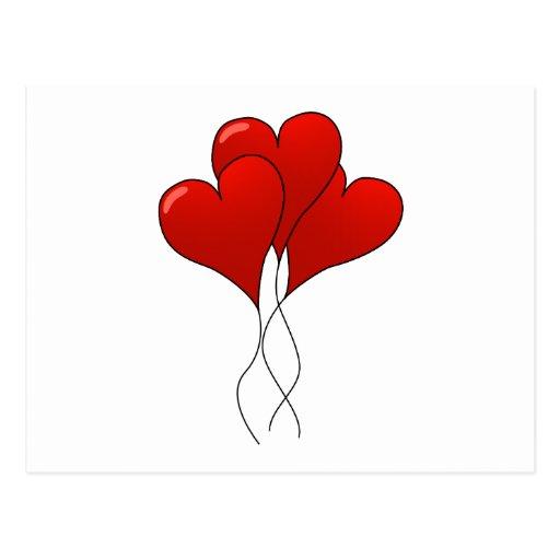 Globos del corazón postales