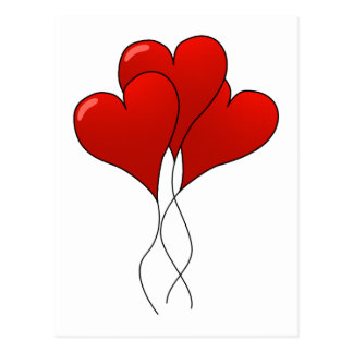 Globos del corazón tarjeta postal