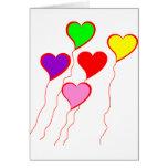 Globos del corazón tarjetas