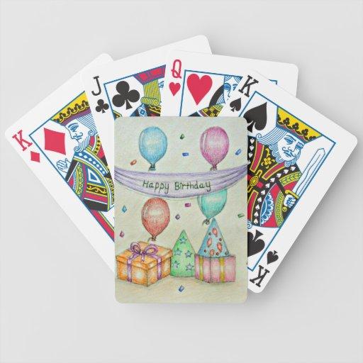 globos del cumpleaños barajas de cartas