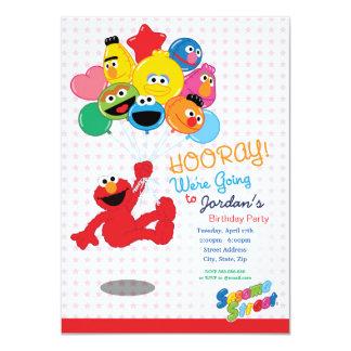 """Globos del cumpleaños de Elmo y de los Pals Invitación 4.5"""" X 6.25"""""""