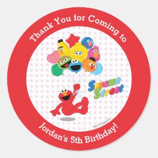 Globos del cumpleaños de Elmo y de los Pals Pegatina Redonda