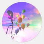 Globos del cumpleaños del cielo etiqueta redonda