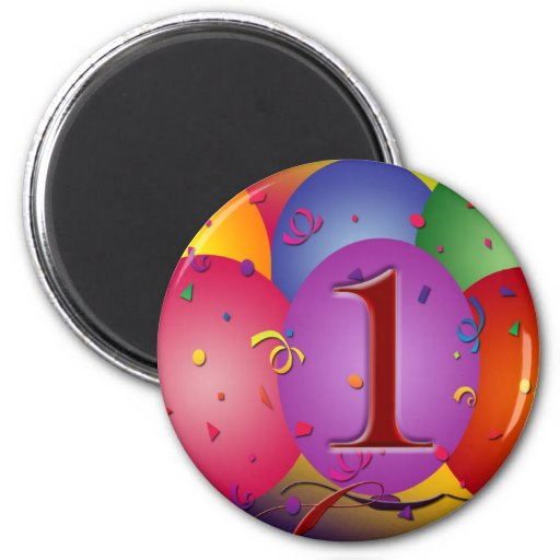 Globos del cumpleaños para el 1r cumpleaños imán redondo 5 cm