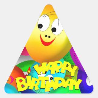 Globos del cumpleaños pegatina triangular