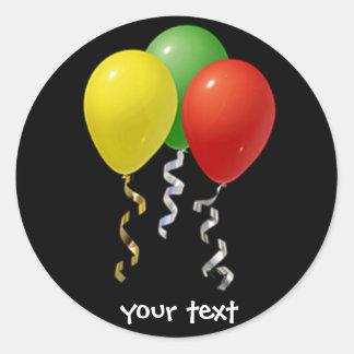 globos del cumpleaños pegatina redonda