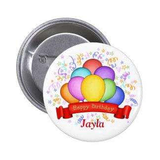 Globos del cumpleaños y botón de la bandera pin