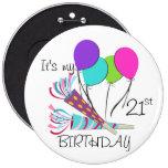 Globos del cumpleaños y cuernos del fiesta pin