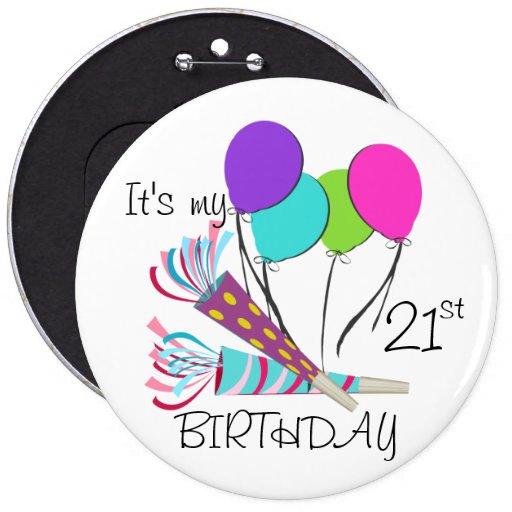 Globos del cumpleaños y cuernos del fiesta pin redondo de 6 pulgadas