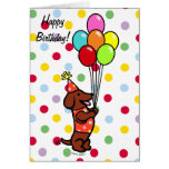 Globos del dibujo animado del cumpleaños del Dachs Tarjeta
