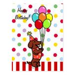 Globos del dibujo animado del cumpleaños del Dachs Tarjetas Postales