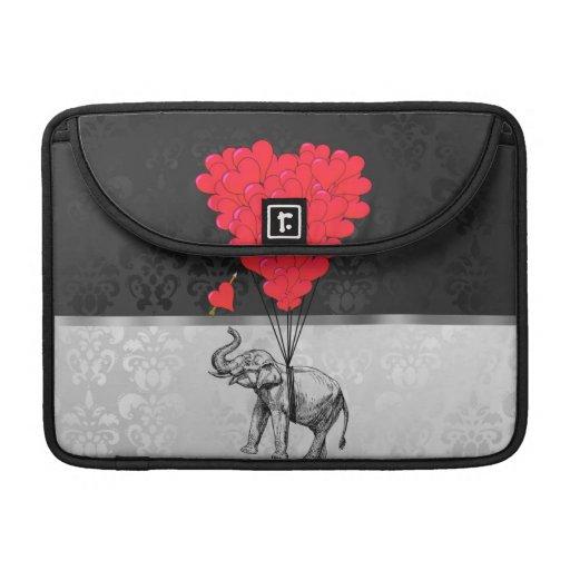 Globos del elefante y del corazón fundas para macbook pro