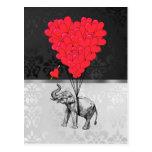 Globos del elefante y del corazón postal