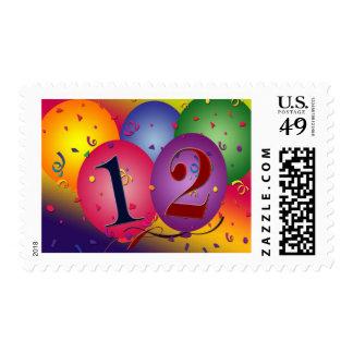 Globos del feliz cumpleaños - 12mo cumpleaños sellos