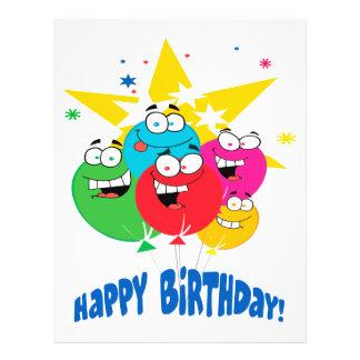 """globos del feliz cumpleaños con el dibujo animado folleto 8.5"""" x 11"""""""