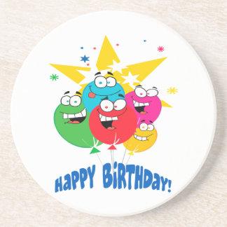 globos del feliz cumpleaños con el dibujo animado  posavasos personalizados