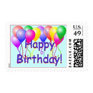 Globos del feliz cumpleaños estampilla