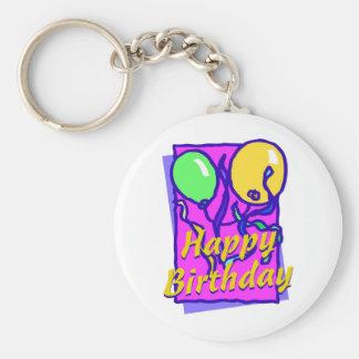 Globos del feliz cumpleaños llavero redondo tipo pin