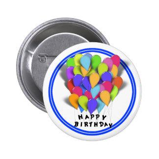 Globos del feliz cumpleaños para el muchacho pin redondo de 2 pulgadas