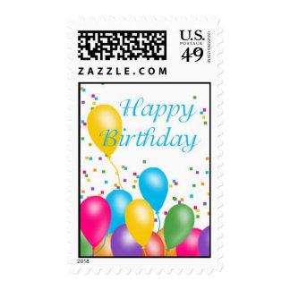 Globos del feliz cumpleaños sello postal